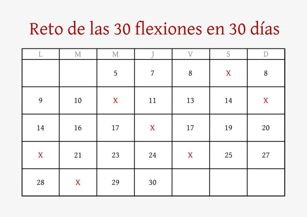 TABLA RETO 30 FLEXIONES EN 30 DÍAS